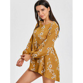 High Low Floral Mini Dress - YELLOW XL