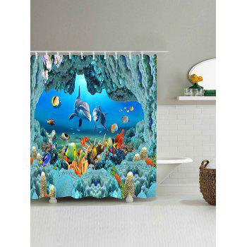 Underwater World Pattern Waterproof Polyester Bath Curtain - BLUE W65 INCH * L71 INCH