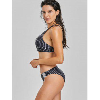Lace Panel Stripe High Neck Bikini Set - COLORMIX COLORMIX