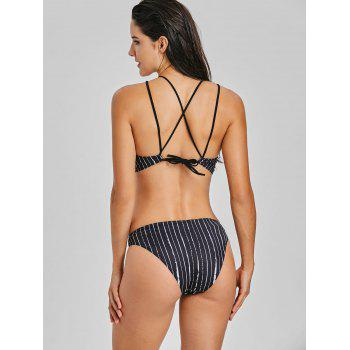 Lace Panel Stripe High Neck Bikini Set - COLORMIX L