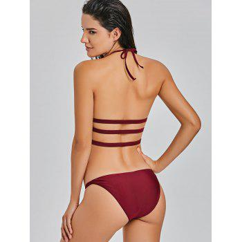 G-string Halter Keyhole Bikini Set - WINE RED WINE RED