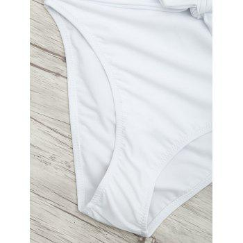 Plunge Front Backless Tied Swimsuit - WHITE M