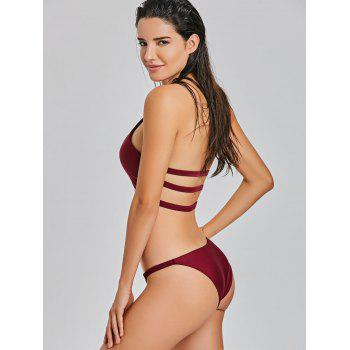 Ensemble Bikini Halter Keyhole G-String - Rouge vineux XL