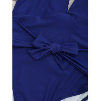 Plunge Front Backless Tied Swimsuit - DEEP BLUE L