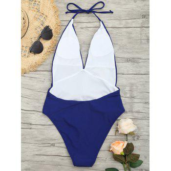 Plunge Front Backless Tied Swimsuit - DEEP BLUE M