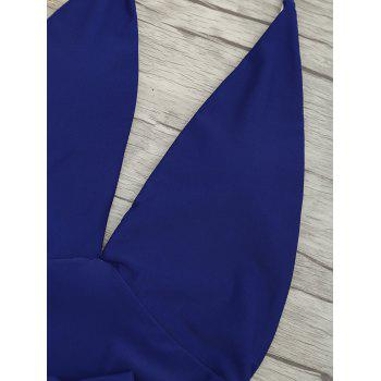 Plunge Front Backless Tied Swimsuit - DEEP BLUE DEEP BLUE