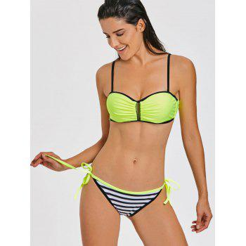 Stripe Moulded Push Up Bikini - FLUORESCENT YELLOW FLUORESCENT YELLOW