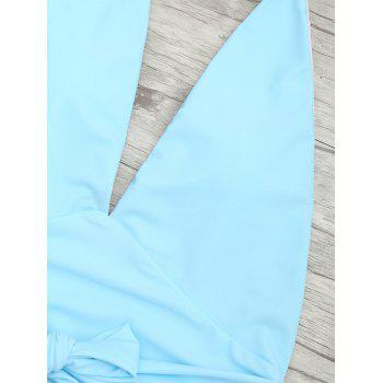 Plunge Front Backless Tied Swimsuit - CLOUDY L