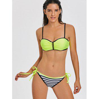 Bikini Push Up moulé à rayures - Fluorescent Jaune M