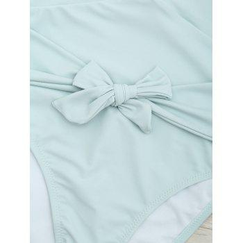 Plunge Front Backless Tied Swimsuit - MINT XL
