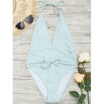 Plunge Front Backless Tied Swimsuit - MINT MINT