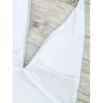 Plunge Front Backless Tied Swimsuit - MINT L