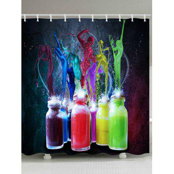 Bottle Colorful Paint Splatter Print Waterproof Bath Curtain - COLORFUL COLORFUL