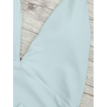 Plunge Front Backless Tied Swimsuit - MINT S