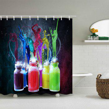 Bottle Colorful Paint Splatter Print Waterproof Bath Curtain - COLORFUL W59 INCH * L71 INCH