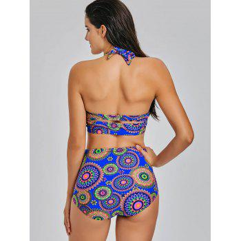 High Waisted Aztec Print Bikini Set - COLORMIX L
