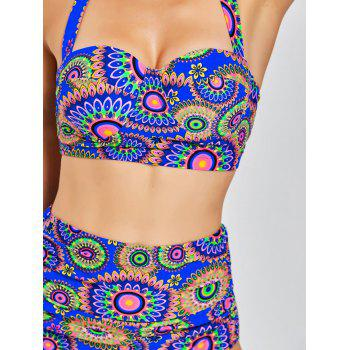 High Waisted Aztec Print Bikini Set - COLORMIX 2XL