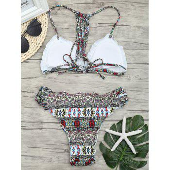Print Lattice Back Micro Bikini Set - COLORMIX S