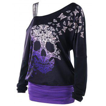 Skull Butterfly Pattern Skew Collar Top - BLACK BLACK