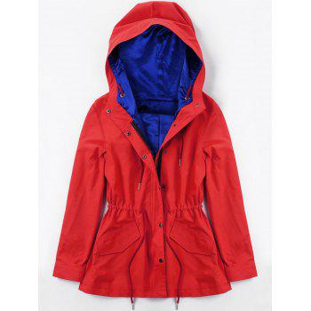 Hooded Drawstring Heated Jacket - RED RED
