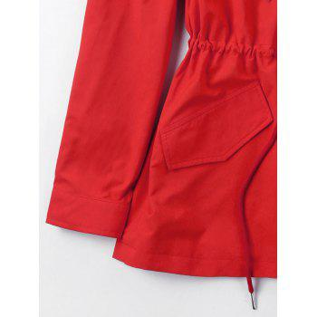 Hooded Drawstring Heated Jacket - RED M