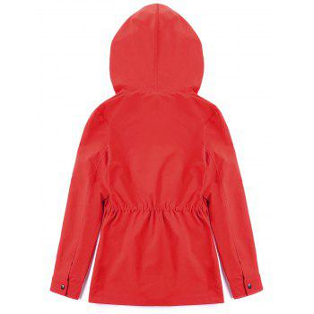 Hooded Drawstring Heated Jacket - RED L