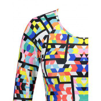 Printed Long Sleeves Plus Size Swimsuit - COLORMIX COLORMIX