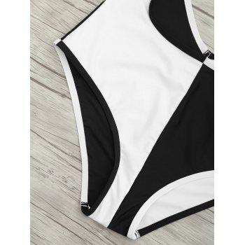Backless Two Tone Cut Out Swimsuit - WHITE/BLACK S