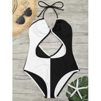 Backless Two Tone Cut Out Swimsuit - WHITE AND BLACK WHITE/BLACK