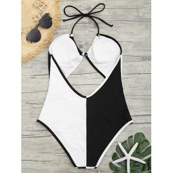 Backless Two Tone Cut Out Swimsuit - WHITE/BLACK M