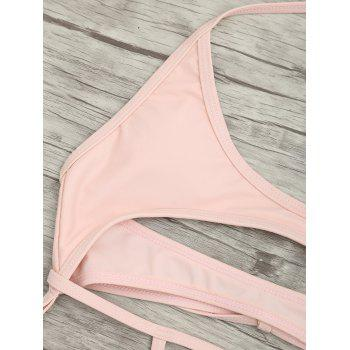 Cut Out One Piece String Swimsuit - LIGHT PINK XL