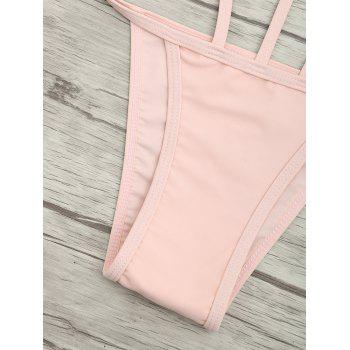 Cut Out One Piece String Swimsuit - LIGHT PINK L
