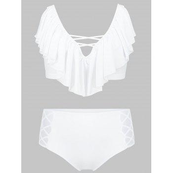 Flounce Lattice Panel Plus Size Bikini Set - WHITE WHITE