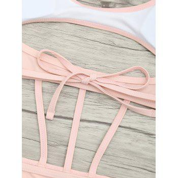 Cut Out One Piece String Swimsuit - LIGHT PINK S