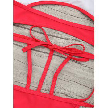 Cut Out One Piece String Swimsuit - RED RED