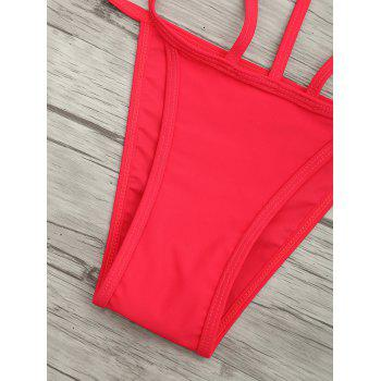 Cut Out One Piece String Swimsuit - RED S