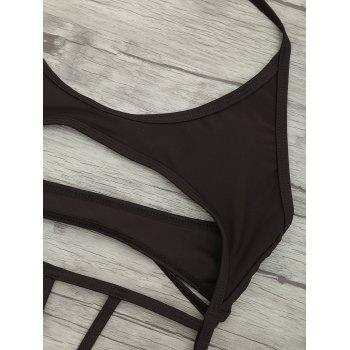 Cut Out One Piece String Swimsuit - DEEP BROWN XL