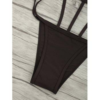 Cut Out One Piece String Swimsuit - DEEP BROWN DEEP BROWN