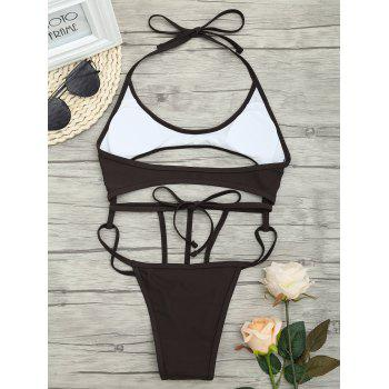 Cut Out One Piece String Swimsuit - DEEP BROWN M