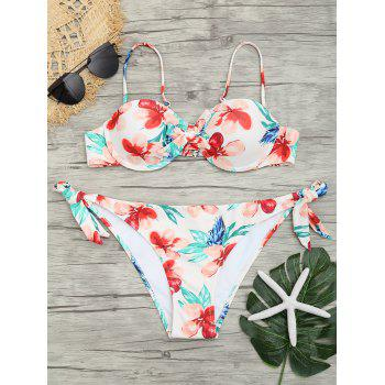 Low Waist Flower Print Bikini Set - COLORMIX COLORMIX