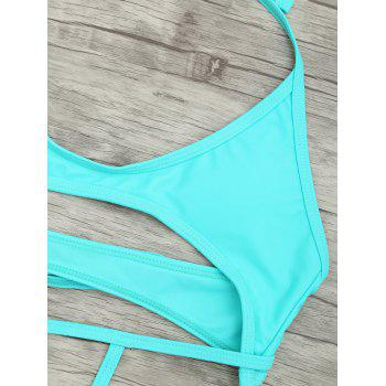 Cut Out One Piece String Swimsuit - LAKE GREEN LAKE GREEN