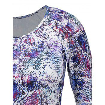 Plus Size Snake Print Long Sleeve Swimsuit - COLORMIX 3XL