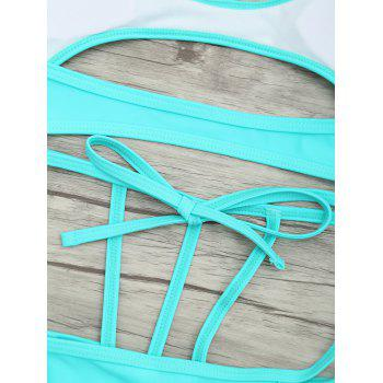 Cut Out One Piece String Swimsuit - LAKE GREEN M