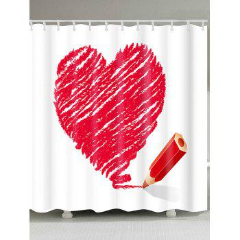 Waterproof Valentine's Day Heart and Pencil Printed Shower Curtain - RED RED