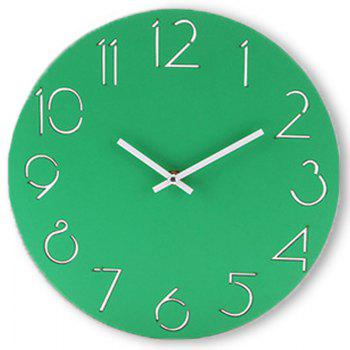 Wooden Round Analog Number Wall Clock - GREEN GREEN