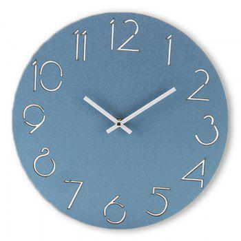 Wooden Round Analog Number Wall Clock - BLUE BLUE