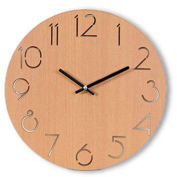 Wooden Round Analog Number Wall Clock - LIGHT BROWN LIGHT BROWN