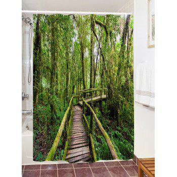 Forest Wooden Bridge Pattern Waterproof Polyester Shower Curtain - GREEN W71 INCH * L79 INCH