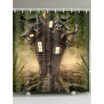 Fantasy Tree House Pattern Waterproof Polyester Shower Curtain - GREEN GREEN