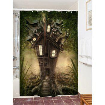 Fantasy Tree House Pattern Waterproof Polyester Shower Curtain - GREEN W71 INCH * L71 INCH